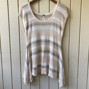 Free People Open Knit Short Sleeve Tunic Sweater